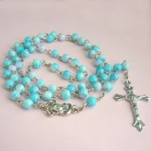Rosary Beads for Children in Pale Blue